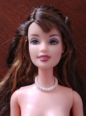 Barbie Doll Nude -Teresa - Fashion Fever - Brown Hair - Pearl Necklace -Gorgeous