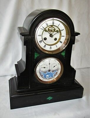 Impressive French Marble Visible Escapement Mantle Clock With Full Calendar Dial