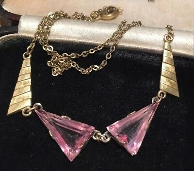 vintage Art Deco jewellery lovely pink faceted glass crystal necklace