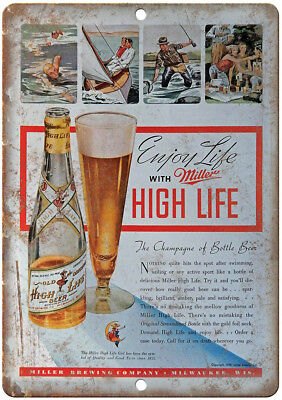"Miller High Life Vintage Beer Breweriana 12"" x 9"" Retro Look Metal Sign E399"