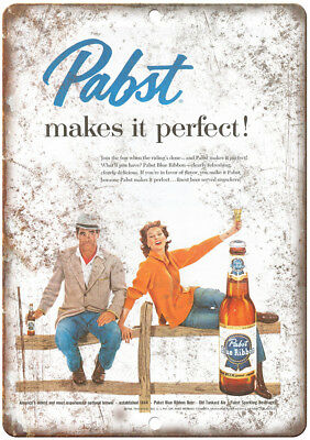 "Pabst Blue Ribbon Breweriana Vintage Ad 12"" x 9"" Retro Look Metal Sign E16"