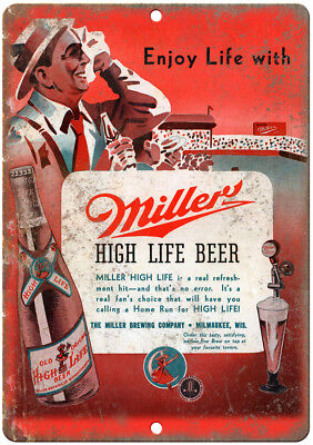 "Miller High Life Beer Vintage Ad 12"" x 9"" Retro Look Metal Sign E327"