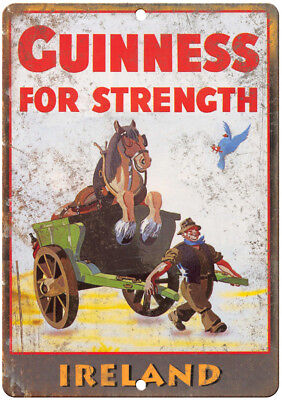 "Guinness Beer Ireland Breweriana Ad 12"" x 9"" Retro Look Metal Sign E11"