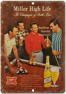 "Miller High Life Beer Vintage Ad Mancave 12"" x 9"" Retro Look Metal Sign E352"
