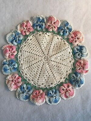 """Vintage hand crocheted doily - Pansy design in blue and pink - 10.5"""" across"""