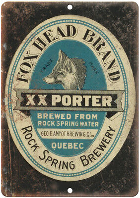"Fox Head Brand Brewery Beer Ad 12"" x 9"" Retro Look Metal Sign E395"
