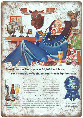 "Pabst Blue Ribbon Beer Vintage Ad 12"" x 9"" Retro Look Metal Sign E19"