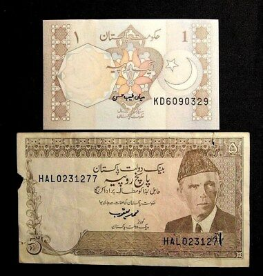 Pakistan ND 1981 1 Rupee & ND 1975 5 rupees Circulated Banknote (L-13)