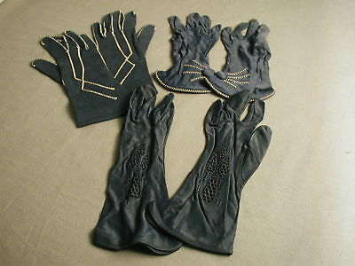 3 PAIR OF VINTAGE LADIES GLOVES - NAVY - SZ SM - COVERED BUTTONS - t 29
