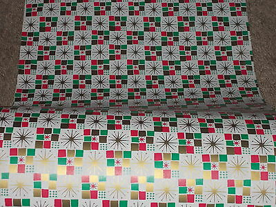 Vtg Christmas 1950 Atomic Age Starburst Mcm Store Wrapping Paper  2 Yards
