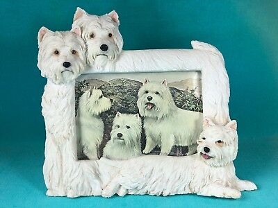 West Highland White Terrier Dogs Picture Frame In High Relief, 3 Dogs With Art