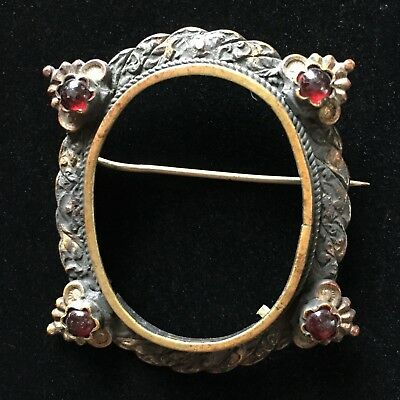 Jewelry Brooch Pin Bezel Frame with Pin Stem Vintage