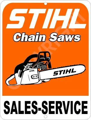 "STIHL Chain Saw Sales & Service Advertising Aluminum Sign 9"" x 12"""