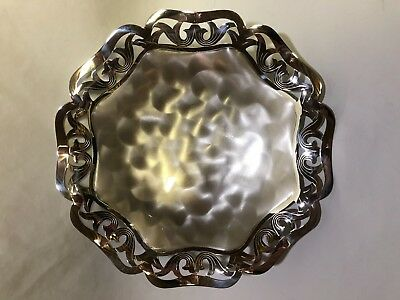 Antique German WMF Ikora Pierced Footed Brass Silver-plated Candy Nut Dish