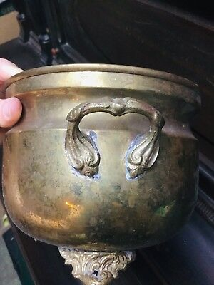 Antique Footed Solid Brass Jardiniere Fern Planter Pot