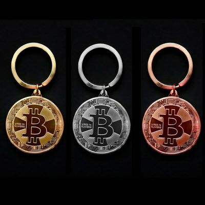 2019 New Gold Plated Bitcoin Coin Key Chain BTC Coin Art Collection Souvenirs
