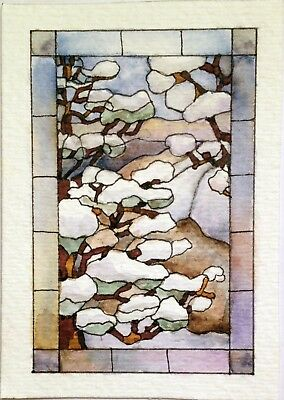 ACEO Original Watercolor Painting COMING TO THE CLEARING by W.Scholes, signed