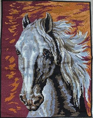Vintage Wild Horse Head Cross Stitch Needlepoint Tapestry Completed 14x18