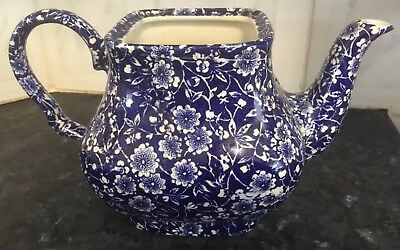Reduced! Blue Calico Burleigh Queensware Teapot Missing Lid