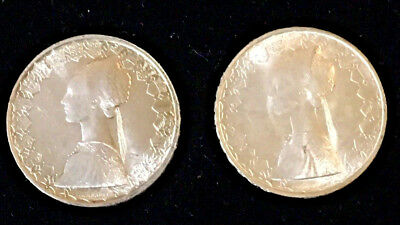 ITALY 500 Lire KM# 98, 1960 and 1966 Silver 500 Lire Coins, Both Uncirculated BU