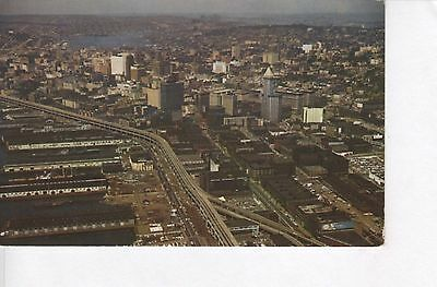 1960 Seattle Aerial View with Alaska Way Viaduct, Lake Union VINTAGE POSTCARD!