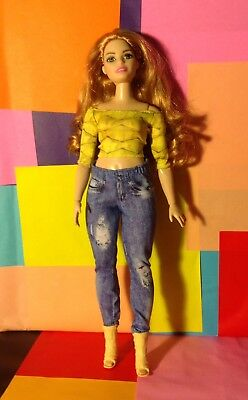 Barbie Size Fashion: Clothing & Accessories ONLY Curvy Body Top Jeans Shoes