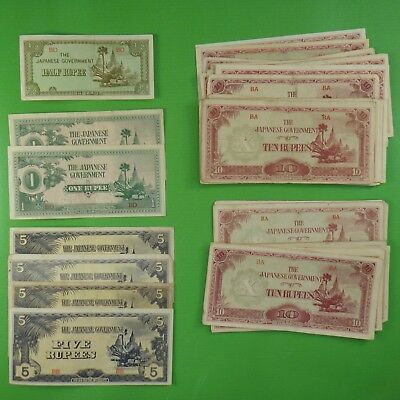 Lot of Fifty+ (50+) Japanese Government WWII Occupation Currency ~ Burma/Myanmar