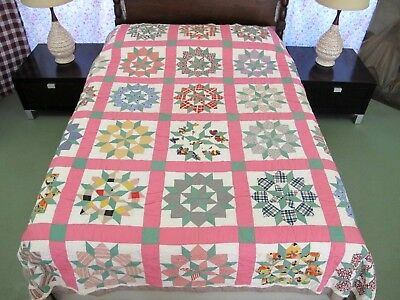 """Vintage Hand Pieced & Quilted STAR OF BETHLEHEM Feed Sack Quilt; 89"""" x 78"""""""