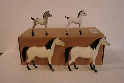 Vintage Hartland Model Horses - Lot of 4 small models, white w/ black points