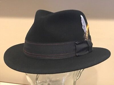 7234f24bc1abae $95 Stetson Vernal Men Traveller Crushable Black Vitafelt Wool Fedora Hat  Xxl