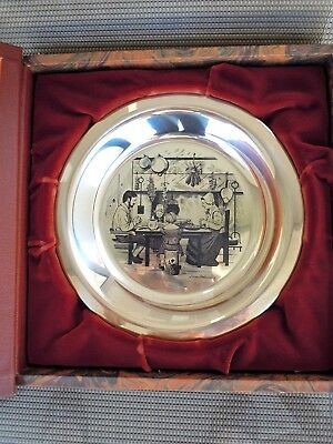 ~ Franklin Mint Thanksgiving Plate 4th Ed. Stevan Dohanos 1975 Sterling Silver ~