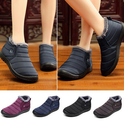 Fashion Women Snow Boots Fur Lined Non-slip Waterproof Warm Ankle Boots Shoes