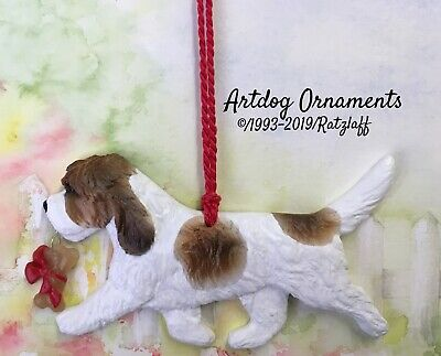 PBGV-brown and white-with Bone charm-Christmas/holiday dog breed ornament