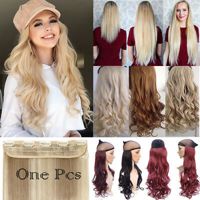 100% Real Natural One Piece Clip in Ins Hair Extensions Wavy as Human Hair Fh1