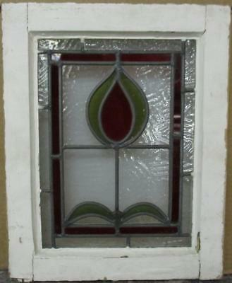 """OLD ENGLISH LEADED STAINED GLASS WINDOW Cute Bordered Abstract 13"""" x 16.25"""""""