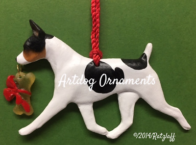 Rat Terrier-tri color-with bone charm-Christmas/holiday dog breed ornament