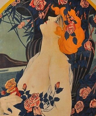 Rare LARGE 1800's ANTIQUE French Paris Art Deco Lady France lithograph 100yr Old