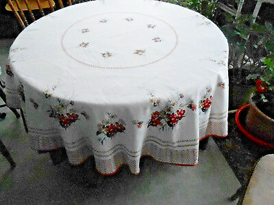 Fantastic Flower Print Round Tablecloth In Very Good Condition, Circa 1960