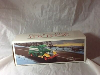 Vintage Mint In Box 1985 First Hess Truck Toy Bank W/ All Cardboard And Inserts