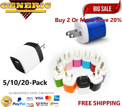Wholesale Lot Wall Charger Charging Block Phone USB Cube iPhone iPad Samsung