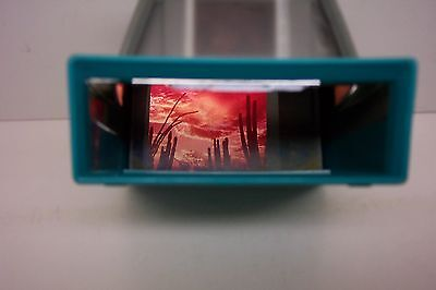 50's REALIST REALORAMA SLIDE VIEWER---TURQUOISE & GREY COLOR---WORKS