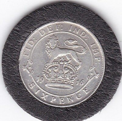 1916   King  George   V  Sixpence  (6d)  Silver  (92.5%)   Coin