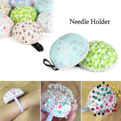 Button Storage Tool Floral Wrist Strap Needle Holder Sewing Pin Cushion
