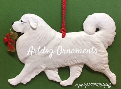 Great Pyrenees-with bone charm-Christmas/holiday dog breed ornament