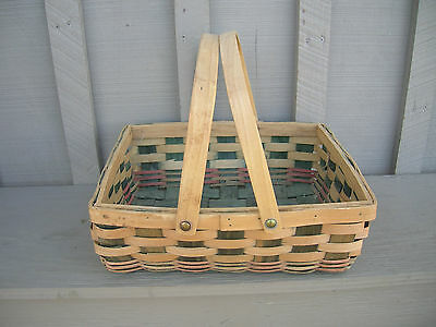 Old Vintage Shabby Woven Wood Wooden Basket Garden Gathering Kitchen Tool Decor