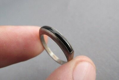Vintage Old Pawn Sterling Inlay Onyx Curve Ring