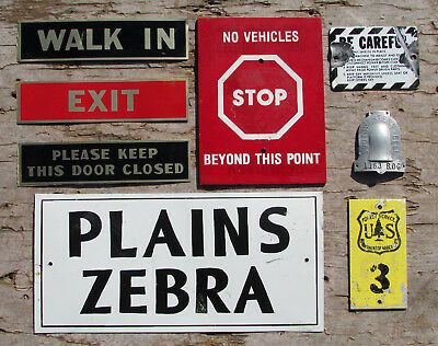 Vintage Sign Lot Petting Zoo Us Forest Service Southwestern Bell Zebra Old Park