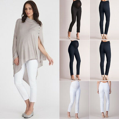 Women's High Waist Maternity Pants Casual Pencil Trouser Pregnant Stretchy Pants