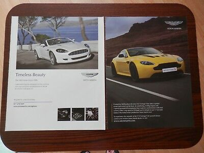 Lot of 2 Print Ads, Aston Martin, V12 Vantage S and 2009 DB9