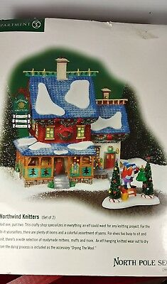 DEPT 56 NORTH POLE SERIES ~ NORTHWIND KNITTERS & FIGURINE~ #56751 Retired 2004